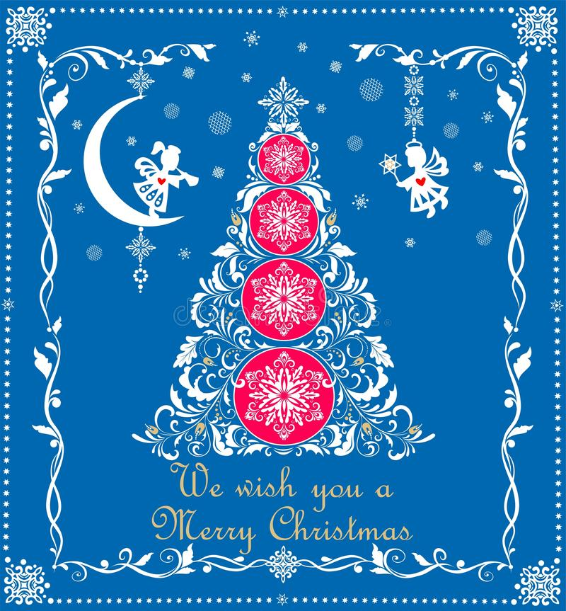 Christmas greeting blue card with craft white paper cutting tree, snowflakes and hanging angels stock illustration
