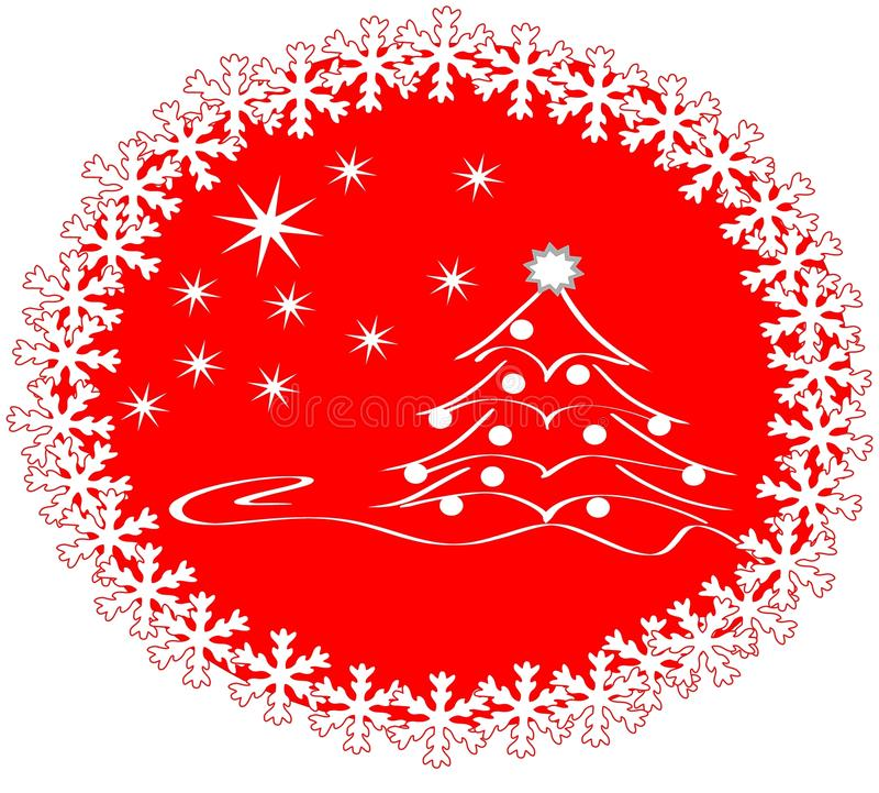 Christmas greeting card with tree and snowflakes