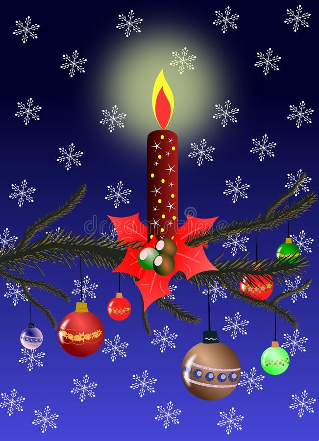 Download Christmas Greeting Card With Red Candle Stock Illustration - Image: 16568152