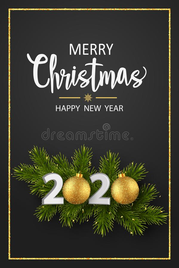 Free Christmas Greeting Card. 2020 New Year Sign With Realistic Pine Branches And Glitter Balls On A Black Background Stock Image - 164547801