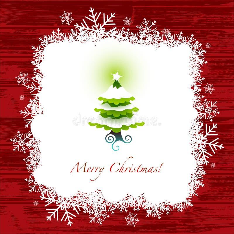 Christmas greeting card. Christmas card, with christmas tree and snowflakes, christmas background