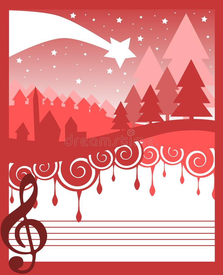 Christmas greeting card in red with treble clef vector illustration