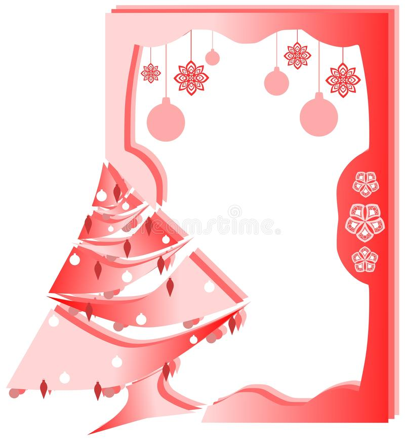Christmas greeting card in red stock photo