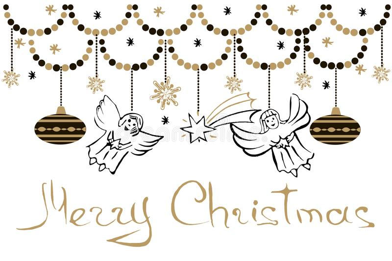 Christmas Greeting Card With Angels, Stars, Snowflakes And Chris stock illustration