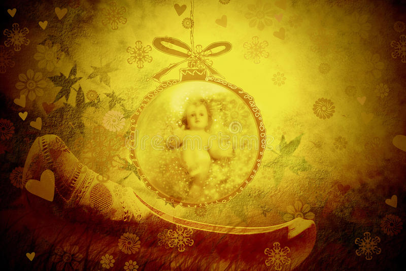 Christmas greeting card, Baby Jesus stock photos
