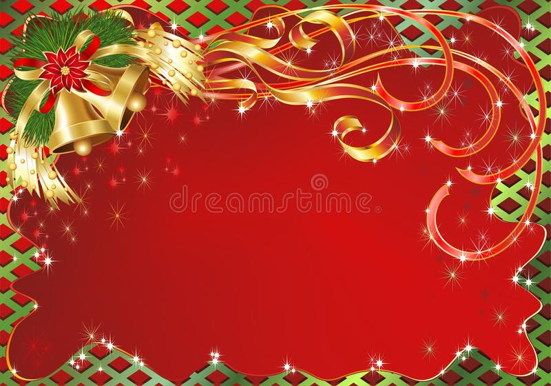Christmas Greeting Card Background with Bells royalty free illustration