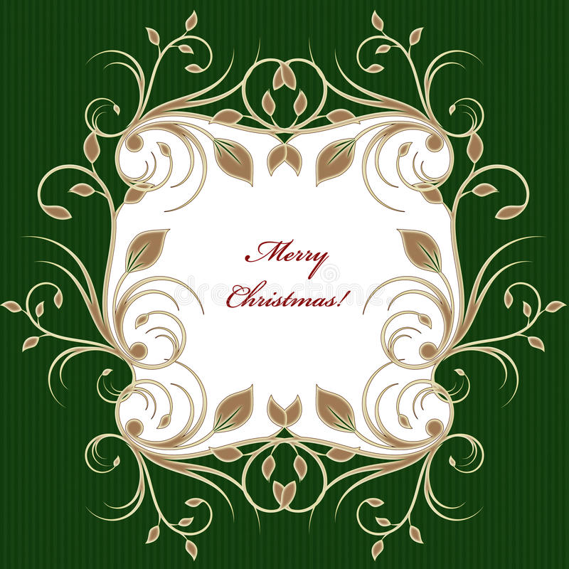 Christmas greeting card background with flourish pattern royalty free illustration