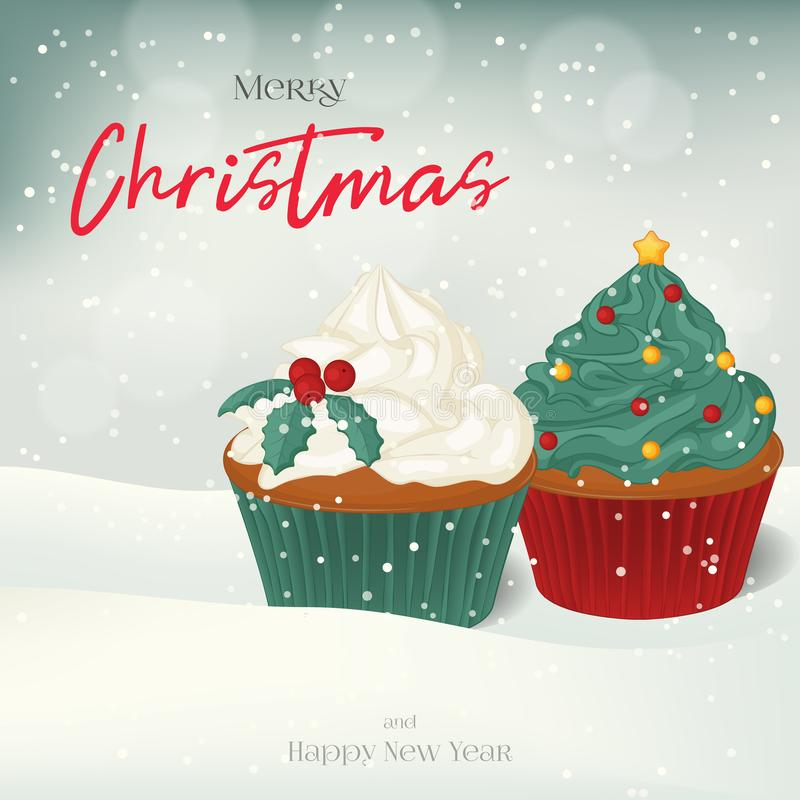 Christmas greeting card, background, poster with sweet cupcakes in the snow. Winter scene. Vector illustration. Holiday Collection royalty free illustration