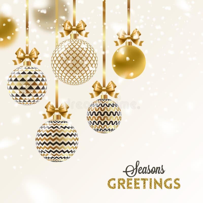 Christmas greeting card. Christmas baubles hang on golden ribbon royalty free stock image