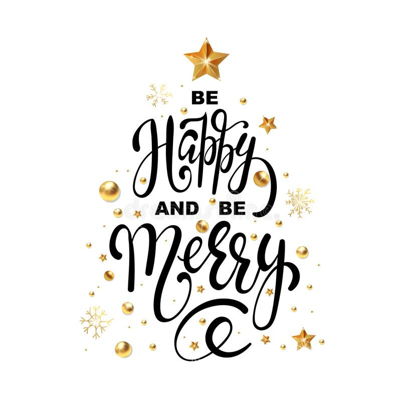 Christmas greeting card Be Happy and be Merry design template of golden New Year decoration and gold glitter Christmas tree vector illustration