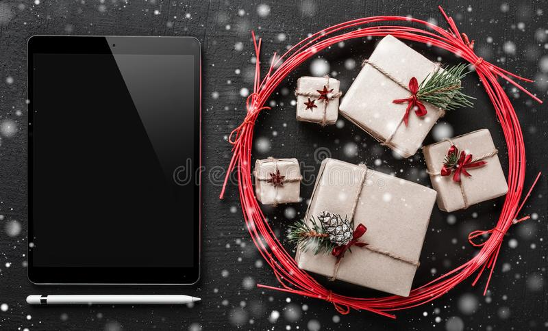 Christmas greeting card black ipad to write a message for loved download christmas greeting card black ipad to write a message for loved ones and dear bookmarktalkfo Image collections
