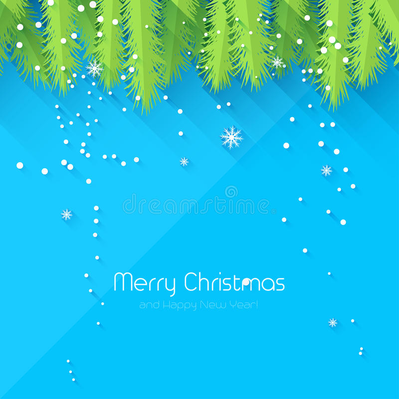 Christmas greeting card. Christmas blue greeting card - flat design style vector illustration