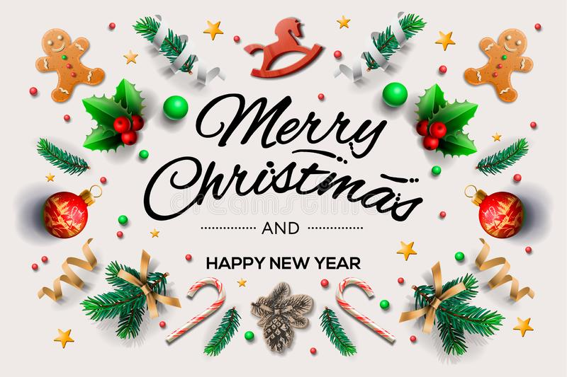 Christmas greeting card with calligraphic season wishes and composition of festive elements such as cookies, stars royalty free illustration