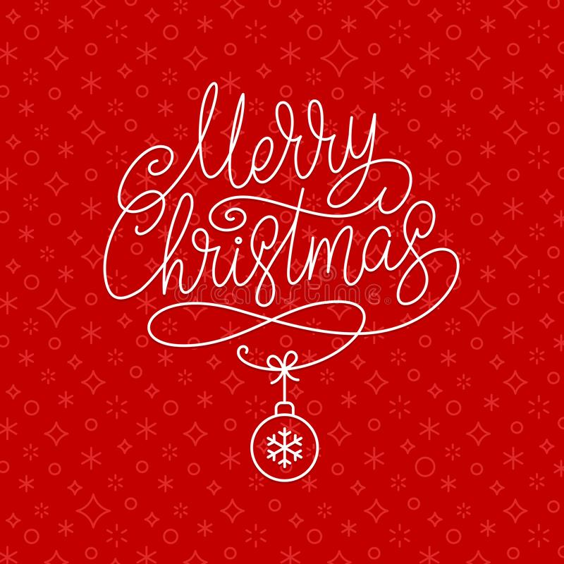Christmas greeting card with calligraphy and holiday bauble on red pattern background. vector illustration