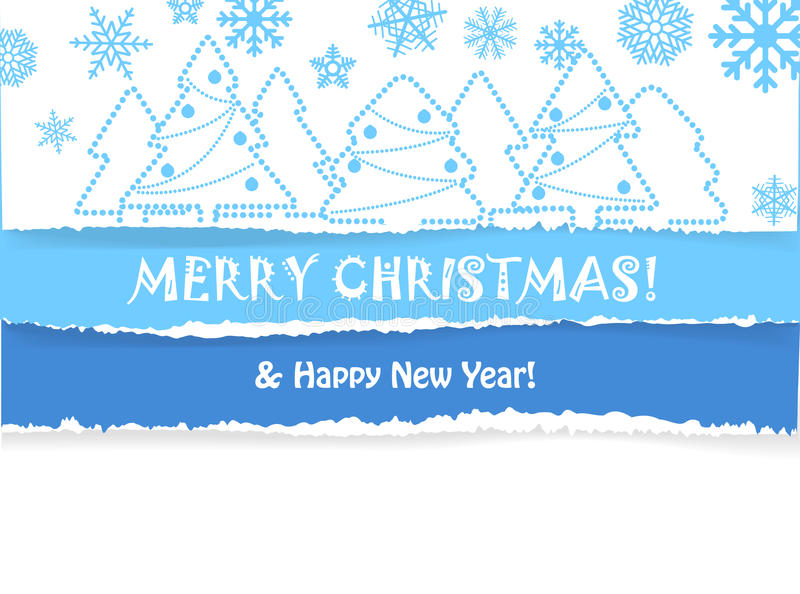 Christmas greeting card with christmas forest stock illustration