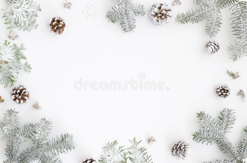 Christmas greeting card. Christmas frame border with copy space. Noel festive background. New year symbol. Fir branches stock photography