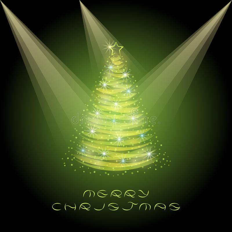 Christmas Greeting Card with Christmas tree. stock illustration
