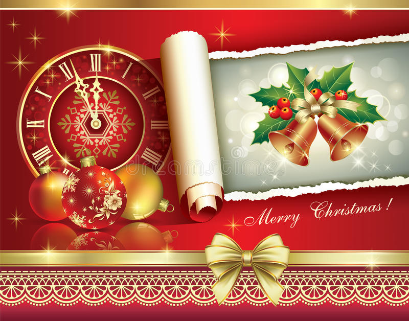 Christmas greeting card 2014 with a clock and ball stock vector download christmas greeting card 2014 with a clock and ball stock vector illustration of season m4hsunfo Images