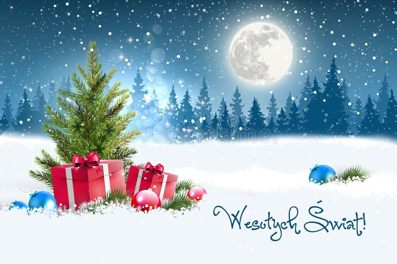 Christmas greeting card concept. Merry Christmas in Polish vector illustration