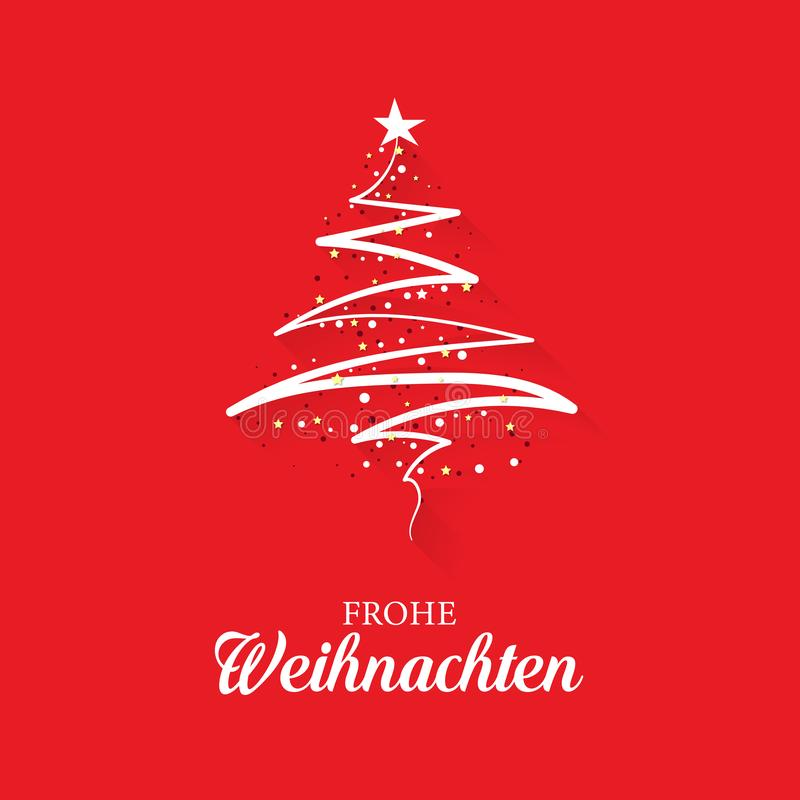 Christmas greeting card concept with the words Merry Christmas in German. With an abstract, modern Christmas tree on a red background stock illustration
