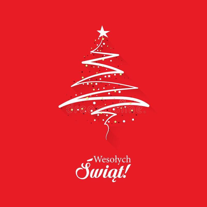 Christmas greeting card concept with the words Merry Christmas in Polish. With an abstract, modern Christmas tree on a red background vector illustration