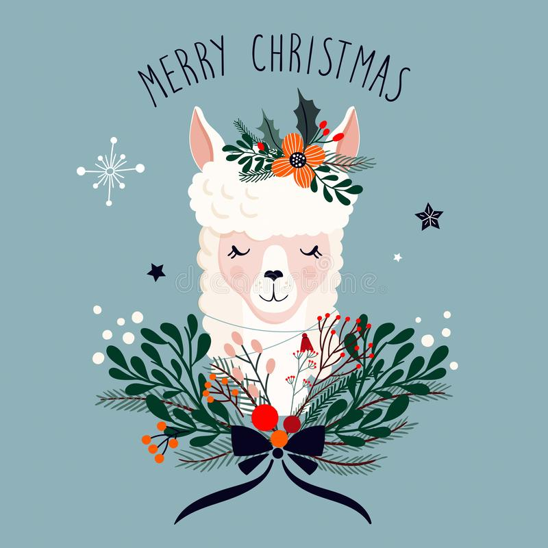 Christmas greeting card with cute llama and seasonal floral bouquet stock illustration