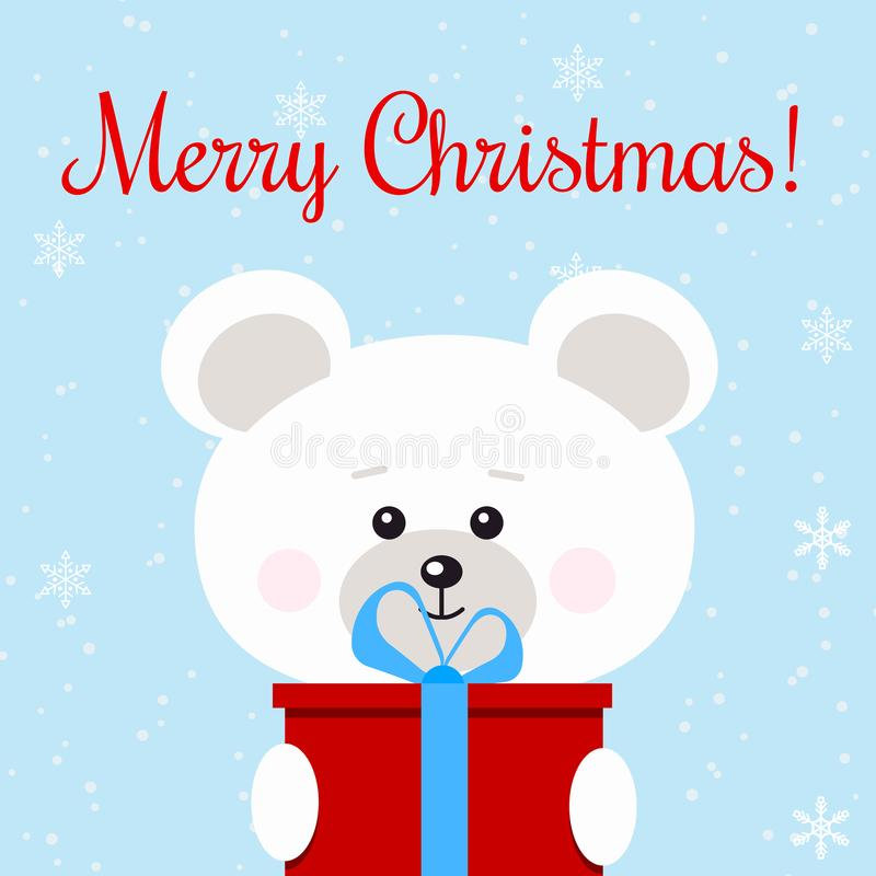 Christmas greeting card with cute polar bear with red gift with blue bow in snow background in cartoon flat style stock illustration