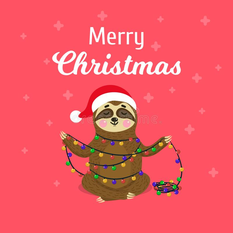 Christmas greeting card with cute sloth. Flat sloth character illustration. Funny animal with christmas garland with. Lights stock illustration