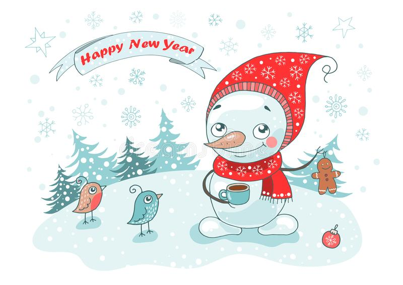 Christmas Greeting Card with cute snowman, birds and snowflakes vector illustration