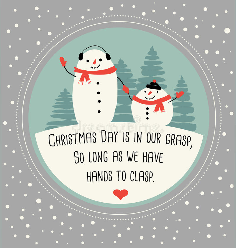 Christmas greeting card with cute snowmen stock illustration