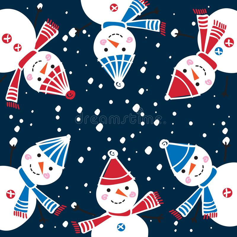 Christmas greeting card with cute snowmen. Happy New Year 2019. stock illustration