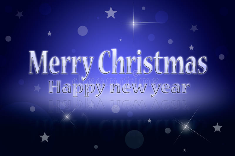 Christmas. Greeting Christmas card (dark blue background). Glare and shine royalty free illustration