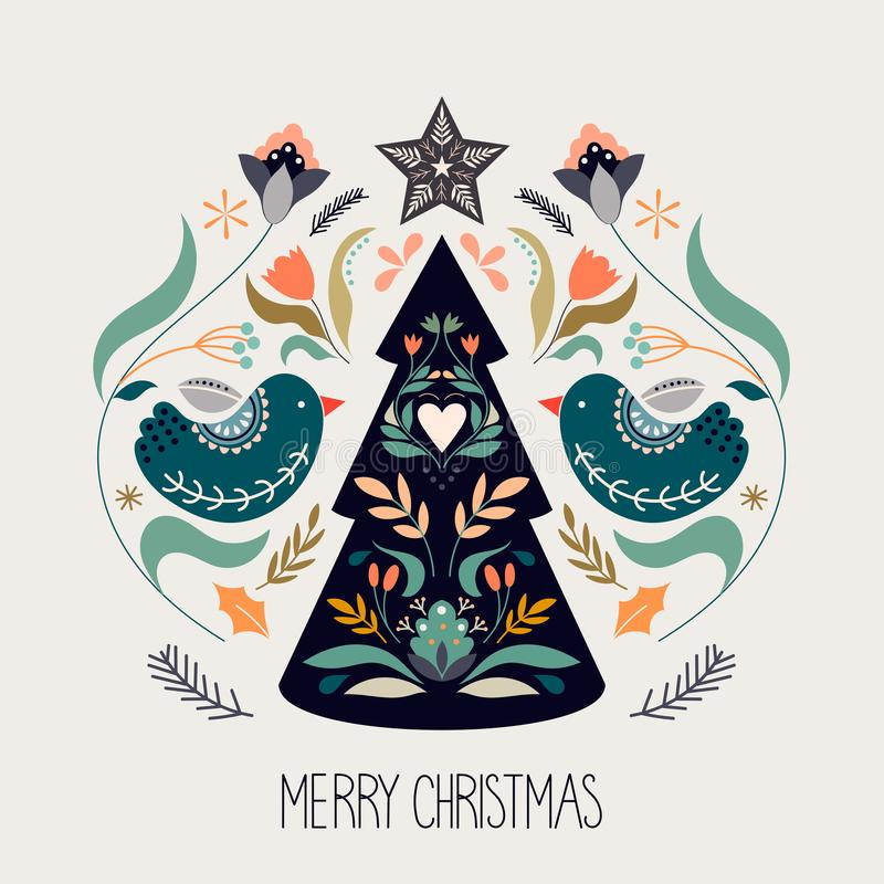 Christmas greeting card with scandinavian traditional elements vector illustration