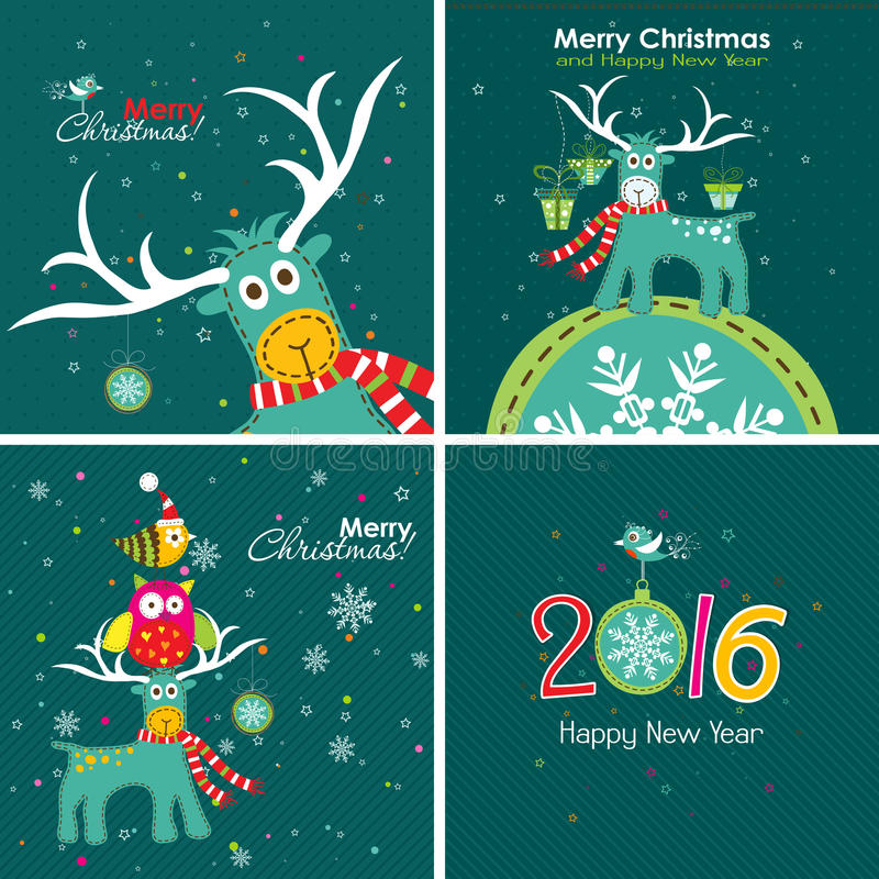 Christmas greeting card with a deer, the owl and the words. Vector royalty free illustration