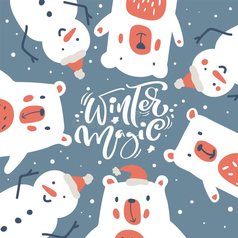 greeting christmas card with polar bear stock vector. Black Bedroom Furniture Sets. Home Design Ideas