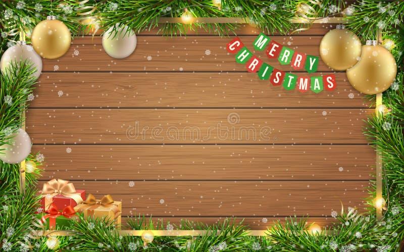 Christmas card fir tree ball wooden background. Christmas greeting card with fir tree frame, christmas ball and text on wooden background vector illustration