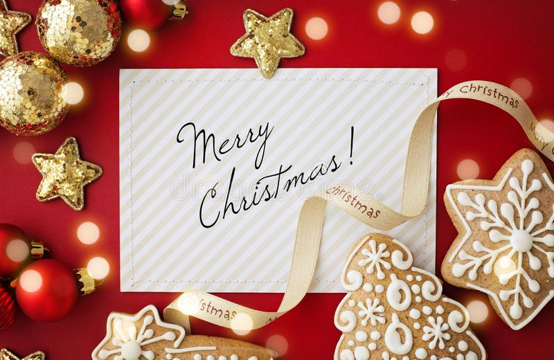 christmas greeting card. frame background with red and gold christmas ornaments stock photography