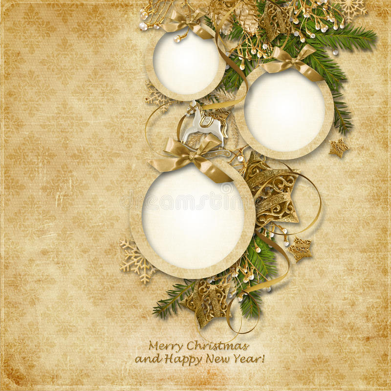 Christmas greeting card with frames for photos of the family, wi stock illustration