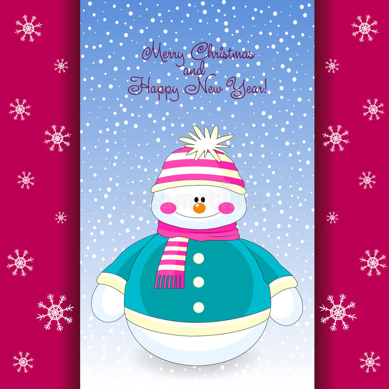 Christmas greeting card with funny snowman. Christmas and New Year greeting card with funny snowman. Snowman vector illustration stock illustration