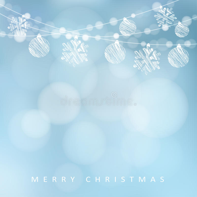 Christmas greeting card with garland of lights, christmas balls and snowflakes,. Illustration background stock illustration