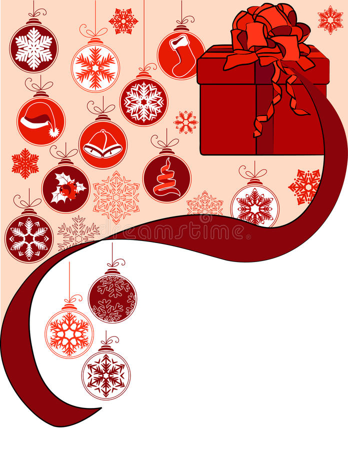 Christmas greeting card with gift box royalty free illustration