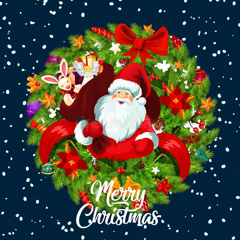 Free Christmas Greeting Card, Gifts And Xmas Wreath Royalty Free Stock Image - 127650466