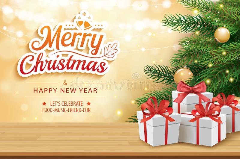 Christmas greeting card with gifts boxes on wooden table and tree bokeh background. Xmas and happy new year. stock illustration