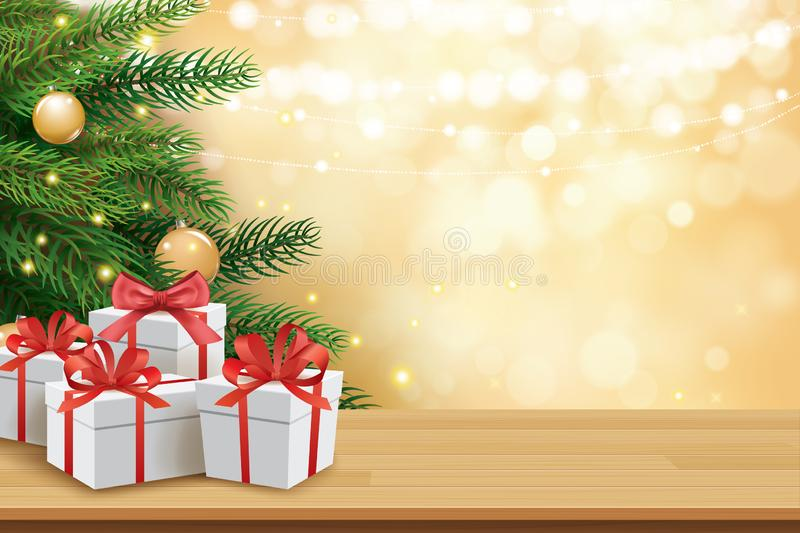 Christmas greeting card with gifts boxes on wooden table and tree bokeh background. Xmas and happy new year vector illustration