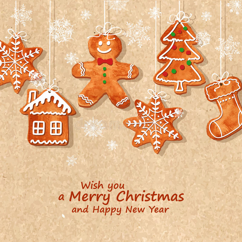 Christmas greeting card with gingerbread cookies stock illustration
