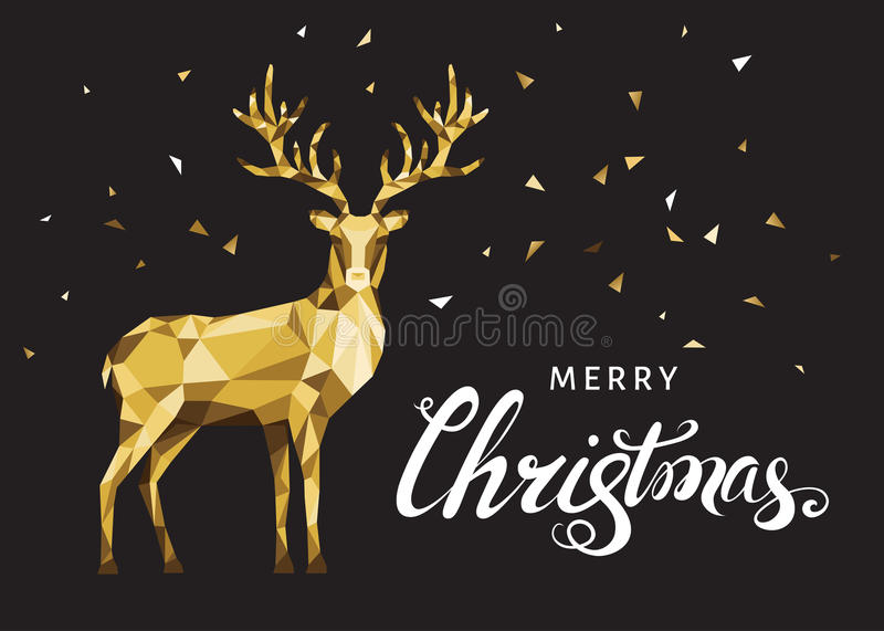 Christmas greeting card with gold polygonal deer on black back. Christmas greeting card with gold polygonal deer and white hand lettering on black background vector illustration