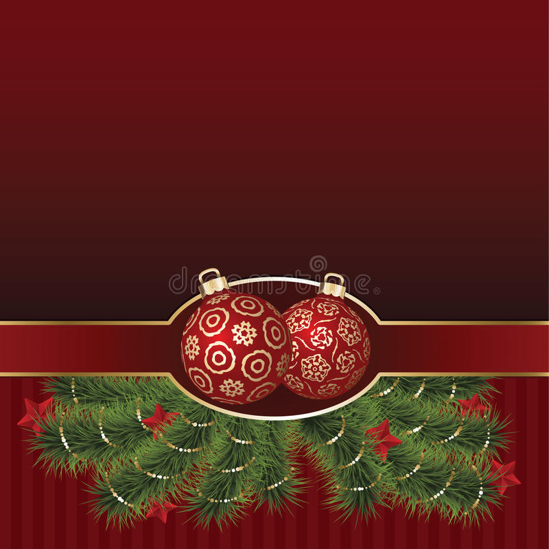 Christmas Greeting Card with golden ornament balls vector illustration