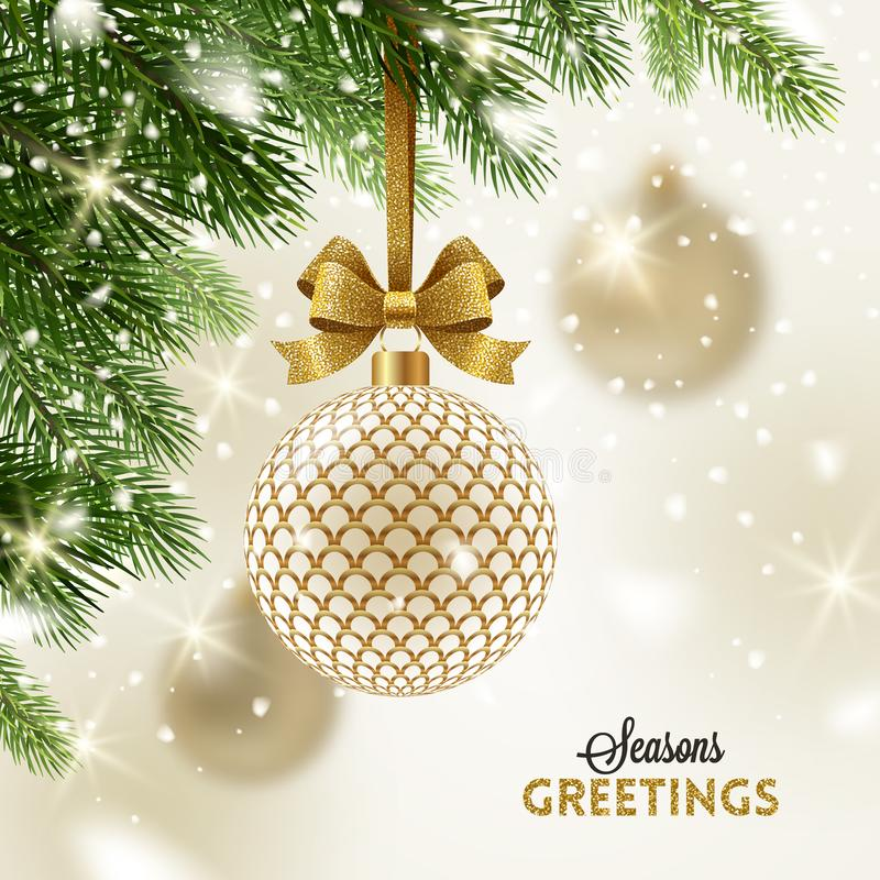 Christmas greeting card - Golden ornate baubles on a christmas tree stock illustration