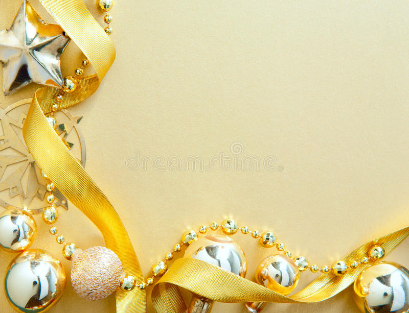 Download Christmas Greeting Card With Golden Tree Decor Royalty Free Stock Photography - Image: 22246827