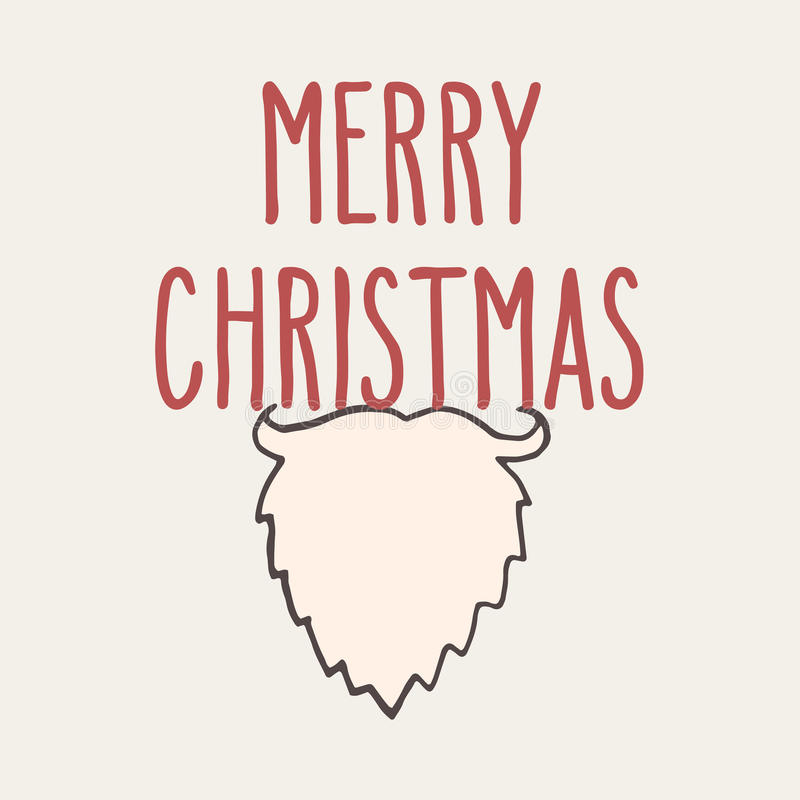 Christmas greeting card. Christmas hand drawn doodle greeting card with Santa beard and hand written Merry Christmas words vector illustration
